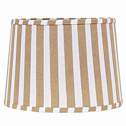 Tan and White Striped Drum Lamp Shade - 10 inch