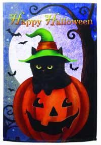Happy Halloween Cat Flag