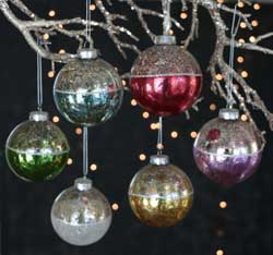 Antiqued Two Tone Ball Ornaments (Set of 6)
