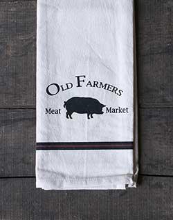 Old Farmer's Pig Dishtowel