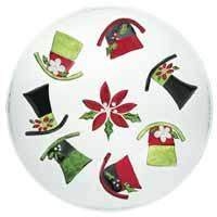 Snowman Hats Glass Platter