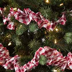 Emmie Red Check 9 foot Garland (Set of 3)