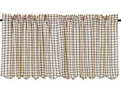 Ethan Black Check Cafe Curtains - 24 inch Tiers