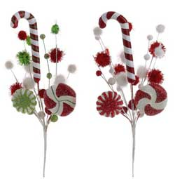 Candy Cane Pom Pom Spray