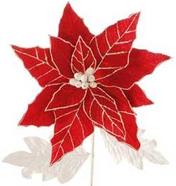 Red & White Poinsettia Pick