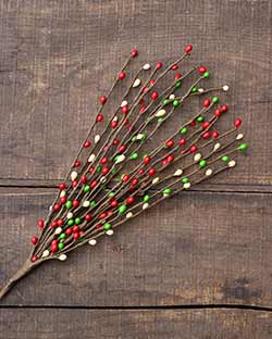 Red, Green, & Cream 18 inch Pip Berry Pick