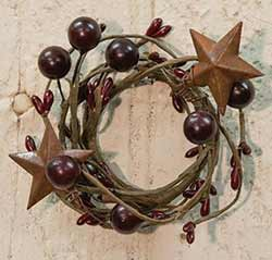 Burgundy Berry Candle Ring with Stars - 1.5 inch