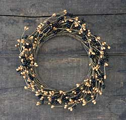 Black & Tan Pip Berry 6 inch Candle Ring