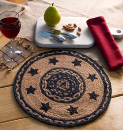 Farmhouse Jute Tablemat with Stars - 13 inch