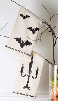 Victorian Heart Favorite Haunt Tea Towel - Bat