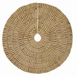Festive Natural Burlap Ruffled Christmas Tree Skirt - 48 inch