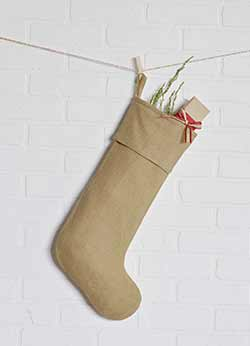 Festive Natural Burlap Stocking - Long