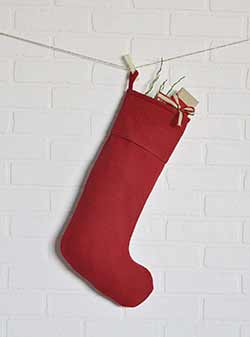 Festive Red Burlap Stocking - Long