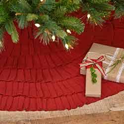 Festive Red Burlap Ruffled 48 inch Tree Skirt