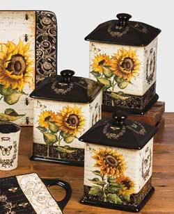 French Sunflowers Canisters (Set of 3)