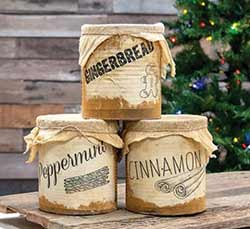 Primitive Christmas Pantry Cans (Set of 3)