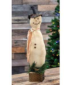 Primitive Snowman on Wood Base