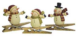 Primitive Snowman Clip Ornaments (Set of 3)