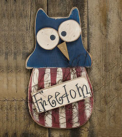 Patriotic Freedom Wood Owl Decor