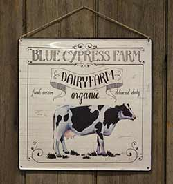 Organic Dairy Farm Enamel Sign