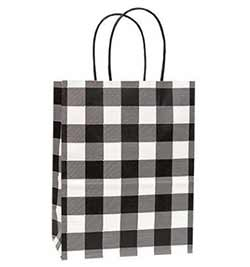 Medium Buffalo Check Black Gift Bags (Set of 10)