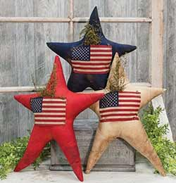 Star Pillow with Flag