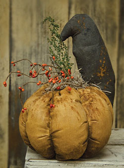 Stuffed Crow on Pumpkin