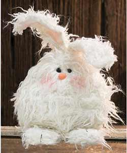 Fuzzy White Angora Bunny Doll - Large