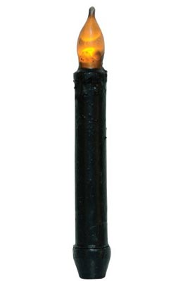Black Beeswax Dipped Taper Candle (with Timer)