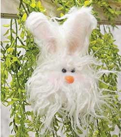 Fuzzy White Angora Bunny Ornament