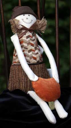 Ginger Scarecrow with Pumpkin Door Hanger
