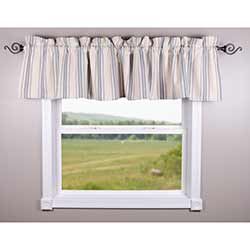 Grain Sack Cream and Blue Stripe Valance