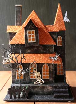 Halloween Lighted House with Skeleton
