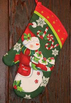 Candy Cane Snowman Oven Mitt