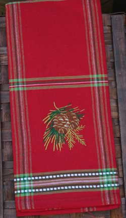 Woodland Pinecone Embroidered Tea Towel