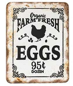 Farm Fresh Eggs Retro Tin Sign