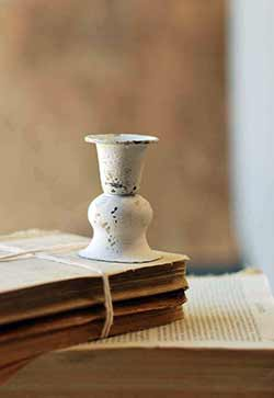 White Alette Candle Holder - 3 inch