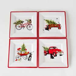 Christmas Square Plates (Set of 4)