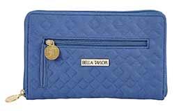 Heritage Blue Microfiber Signature Zip Wallet