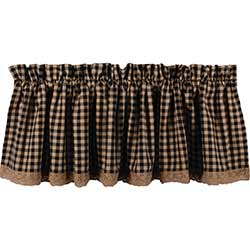 Heritage House Black Check Valance with Lace