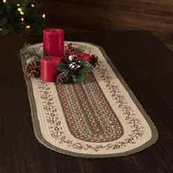 Holly Berry Jute Stencil 48 inch Oval Table Runner