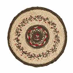 Holly Berry Jute Stencil 8 inch Trivet
