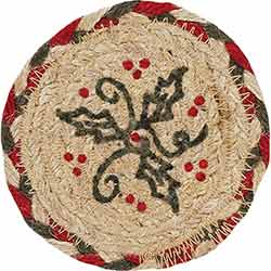 Holly Berry Jute Stencil Coaster (Set of 6)