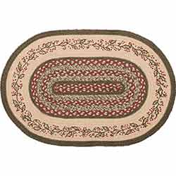 Holly Berry Jute Stencil Rug Oval 20x30