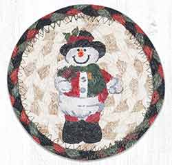 Snowman in Top Hat Braided Coaster