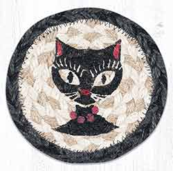 Crazy Cat Red Beads Braided Coaster