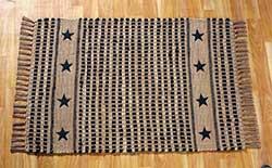Vintage Star Woven Rug - Black