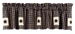 Cambridge Black Plaid Valance with Stars
