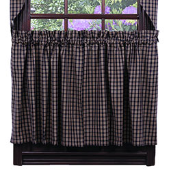 Cambridge Navy Cafe Curtains - 24 inch Long Tiers