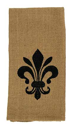 Fleur de Lis Burlap Dishtowels (Set of 2)